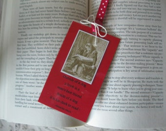 Man's Best Friend Bookmark - 3x5 inch Bookmark accented with red ribbon and twine - 1 Laminated Bookmark with Groucho Marx quote