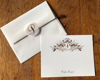 Elegant Monogrammed Card Set - Boxed Card Set 12 Correspondence Cards, 12 Cotton Envelopes, 15 Clear Address Labels, 12 Envelope Seals