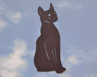 """Egyptian Cat Silhouette warns birds 5"""" x 10.5"""" static cling"""