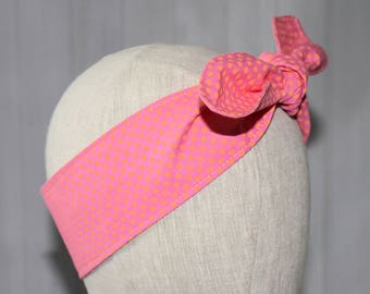 Pink and Orange Polka Dot Rockabilly Hair Scarf/ Gift for Her/ Girlfriend Gift/ Birthday Gift/ Cosplay/ Hair Accessory/ Hair Tie