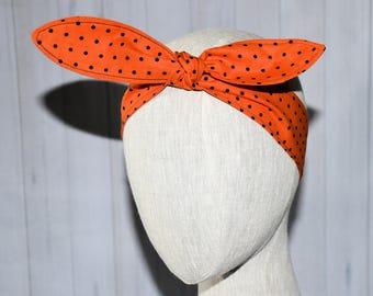 Halloween Polka Dot Rockabilly Hair Scarf/ Gift for Her/ Girlfriend Gift/ Birthday Gift/ Cosplay/ Hair Accessory/ Hair Tie