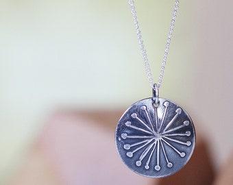 Sterling Silver Pendant Necklace Tiny Pendant Flower Pendant Round Pendant Floral Pendant Dandelion Flower Pendant Small Pendant