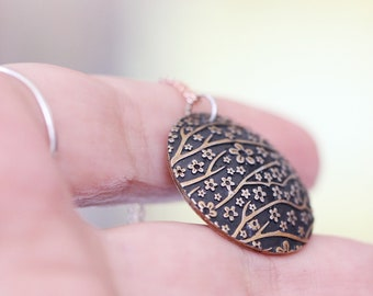 Rose Gold Plated Pendant Necklace Tiny Pendant Flower Pendant Round Pendant Floral Pendant Cherry Blossom Flower Pendant Small Pendant