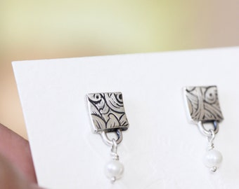 Handmade Sterling Silver Post Earrings Gifts For Her Square Freshwater Pearl