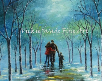 Mom Dad Son Art Print, family, snow painting, walking in snow, winter landscape, loving parents, teal aqua blue, Vickie Wade Art