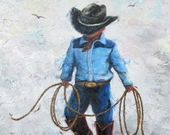 Little Cowboy ORIGINAL Painting, cowboy art, boys room, lasso, little boy painting, western art, cowboy prints wall art, Vickie Wade