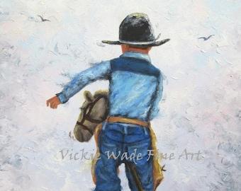 Little Whisper by Lesley Harrison Cowboy Western Framed Print