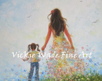Mother and Daughter Art Print, mother's day gift, mom and daughter, walking together, hand in hand, painting, Vickie Wade art