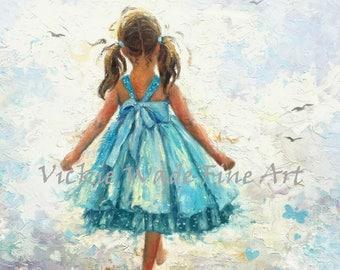Little Girl Art Print, girls room wall art, aqua turquoise wall decor, pigtails, brunette girl walking, brunette hair, Vickie Wade