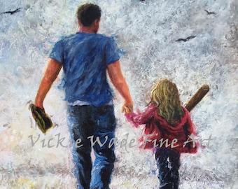 Father Daughter Baseball Art Print, dad and daughter softball painting, baseball mitt, father daughter baseball glove,  Vickie Wade Art