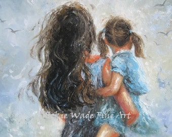 Mother Daughter Art Print, mother paintings, mom, little brunette girl, mother's day gift, girls room, blue gray wall decor, Vickie Wade