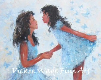 Mother & Daughter ORIGINAL Painting, 12X16 brunette girl, mother's day gift, butterfly kisses, girls room wall art, blue art Vickie Wade Art