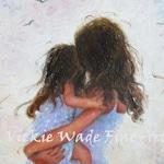 Mother and Daughter Art Print, loving mother hugs, hugging daughter, brunette mother, mom, mother's day, motherhood,Vickie Wade Art