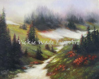 Mountain Snow ORIGINAL painting 18X24 snow in foothills, snow landscape wilderness early snowfall painting, Vickie Wade Paintings