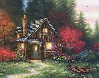Cabin In Fall Art Print Woods Forest Cottage Autumn Trees Painting Country Wall Vickie Wade