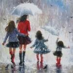 Mother Three Daughters Art Print, three girls, three sisters, 3 girls, mothers day gift, rain girls, mom in rain paintings, Vickie Wade art