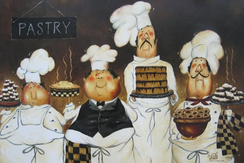 Four Pastry Chefs Art Print fat chef wall art funny chefs image 0