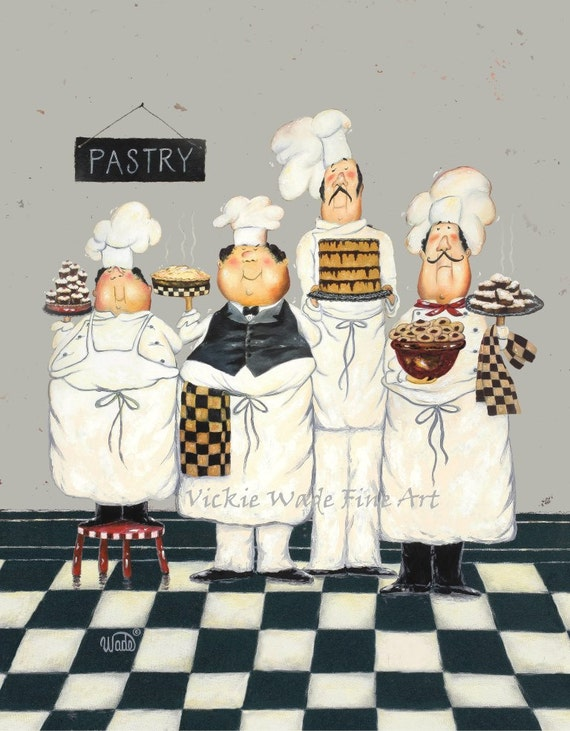 Fat Chefs Art Print chef paintings art kitchen art wall | Etsy