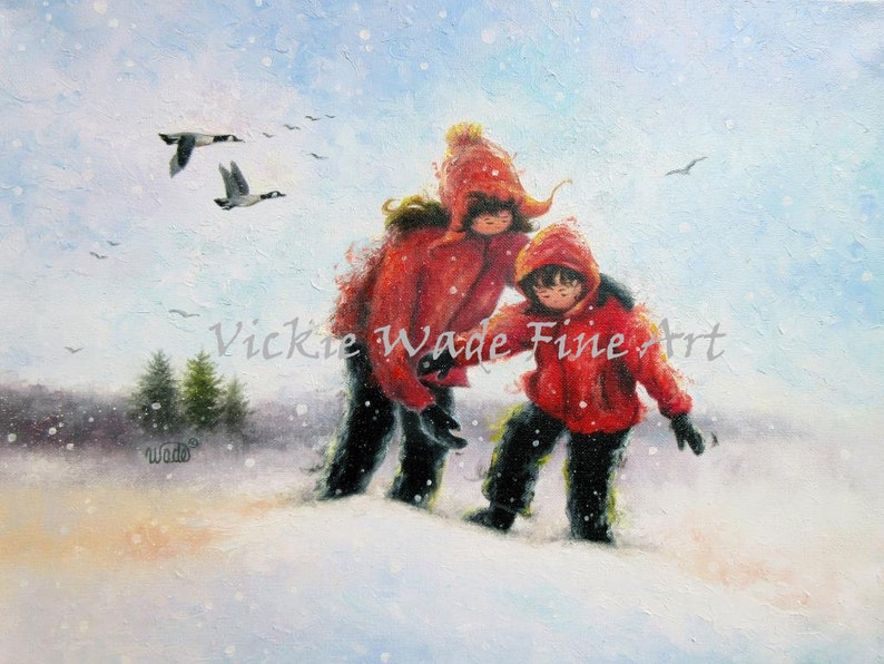 Two Sisters Snow Art Print sister art sister and brother image 0