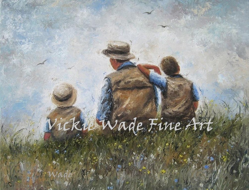 Father Two Sons Art Print dad and sons painting two boys image 0