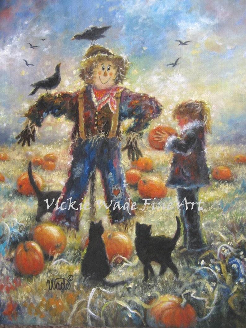 Autumn Art Print pumpkin patch little girl scarecrow black image 0