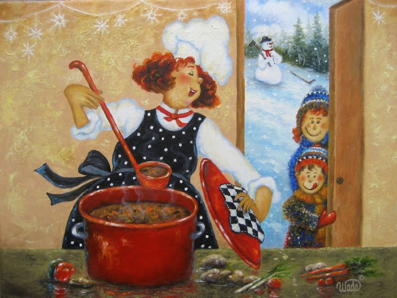 Redhead Mom Chef Art Print fat chefs chef paintings chef image 0