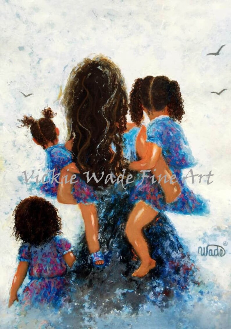 Mother Three Daughters Art Print african american art three image 0