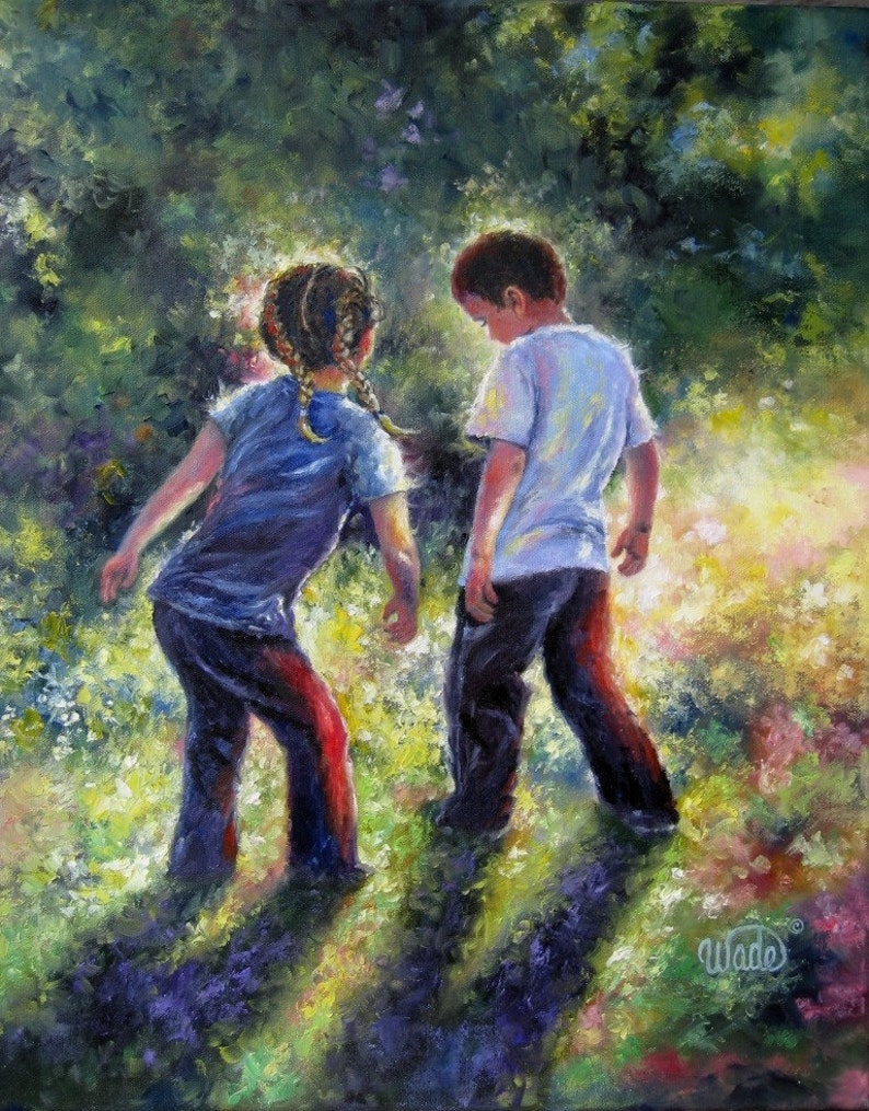 Boy and Girl Art Print brother and sister dancing country image 0
