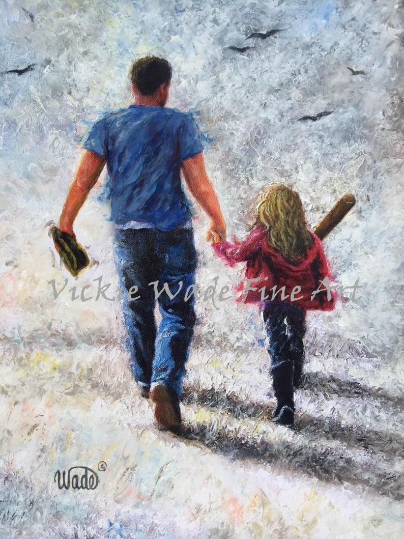 Father Daughter Baseball Art Print dad and daughter softball image 0