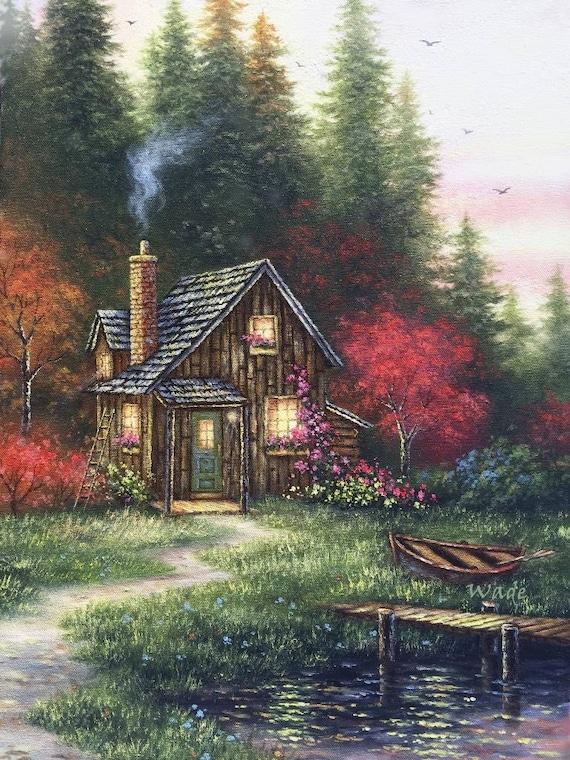 Hutte Im Herbst Kunstdruck Hutte Im Wald Hutte Im Wald Zu Etsy