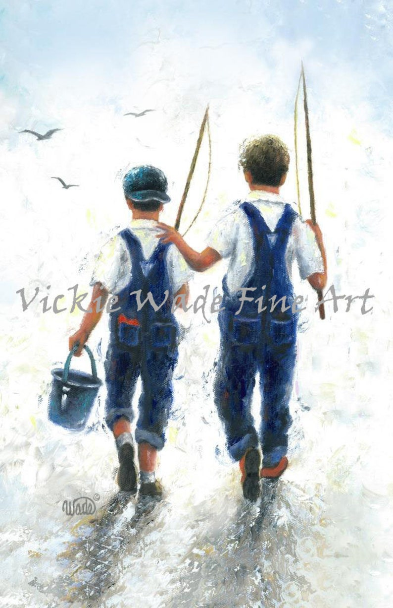 Fishing Art Print two boys going fishing two brother image 0