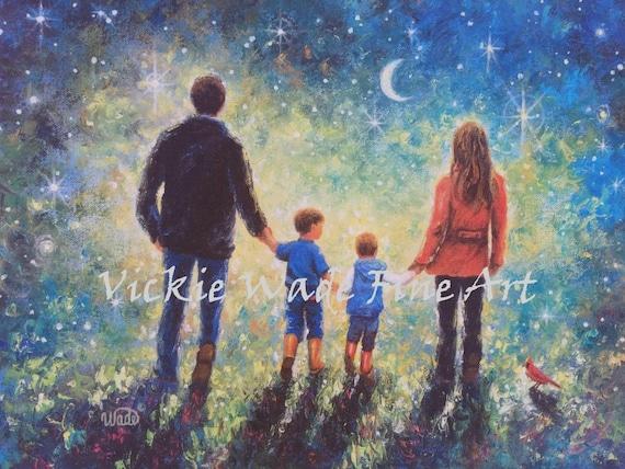 Walk Print Boys Two NightTwilight WalkFatherMotherSonsStarry Art Evening Family Wade Wall ArtVickie TK1J3lcF