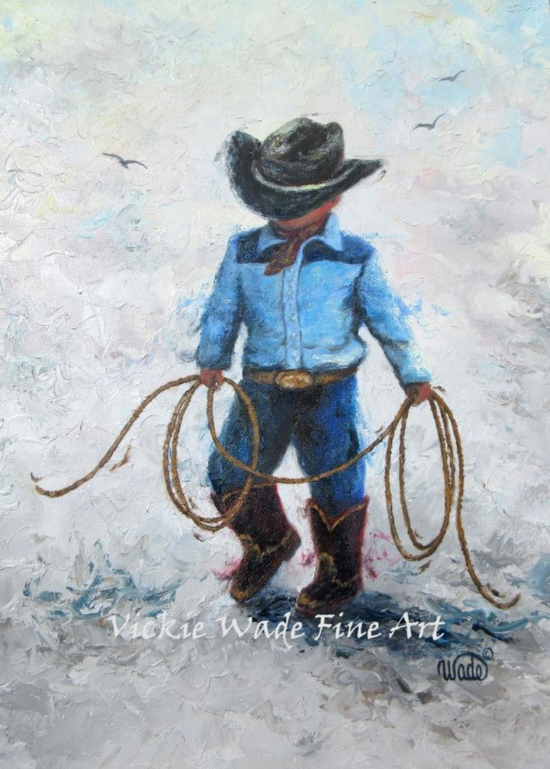Little Cowboy Art Print boys room lasso little boy western image 0