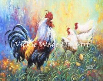Rooster Print, rooster art, chicken paintings, rooster paintings, kitchen art, white chickens wall decor, Vickie Wade Art