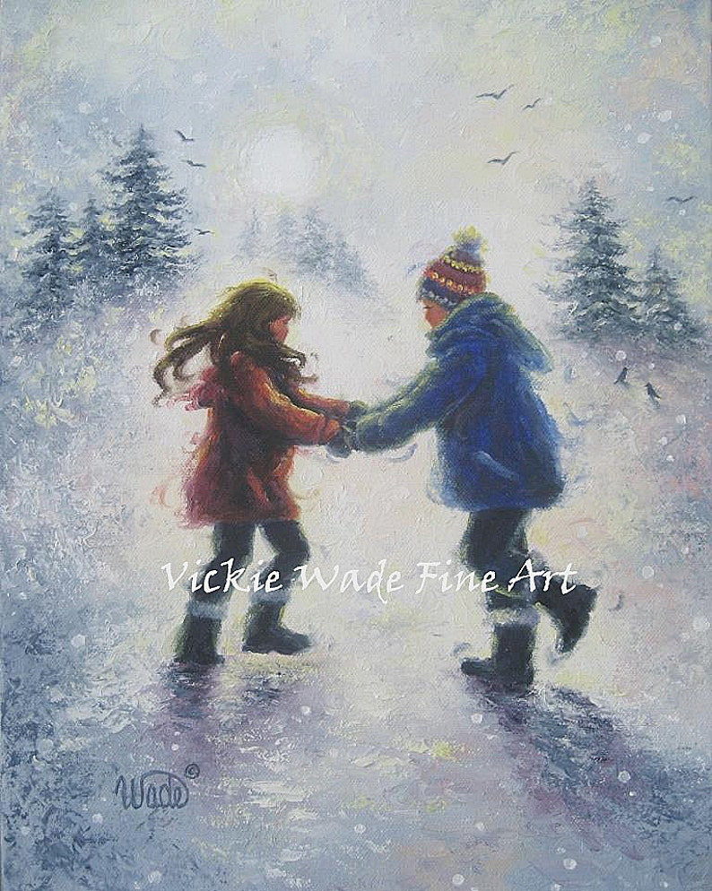 Snow Boy and Girl ORIGINAL Painting 11X14 deep boxed canvas image 0