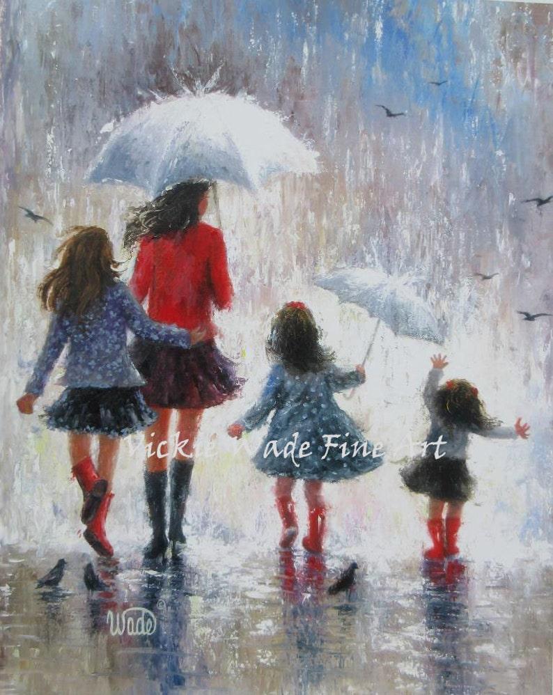 Mother Three Daughters Art Print three girls three sisters image 0