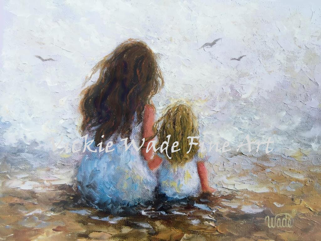 Mother Daughter Art Print Mother Paintings Mom Two Sisters