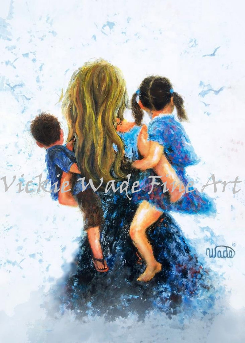 Mother Son and Daughter Art Printgirl and boy sister and image 0