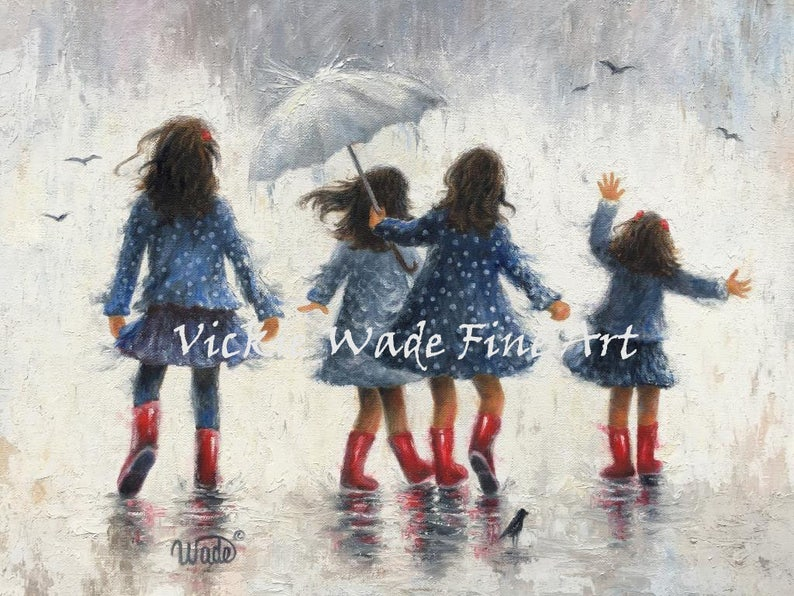 Four Sisters Art Print four girls in the rainfour sisters in image 0