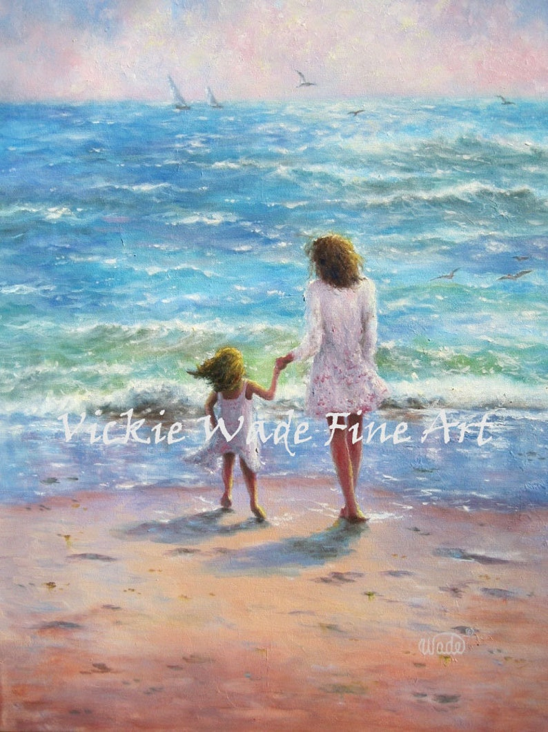 Mother Daughter Beach Art Print beach girls paintings image 0