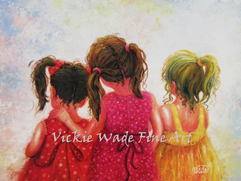 Three Sisters Art Print brunette redhead blonde three image 0