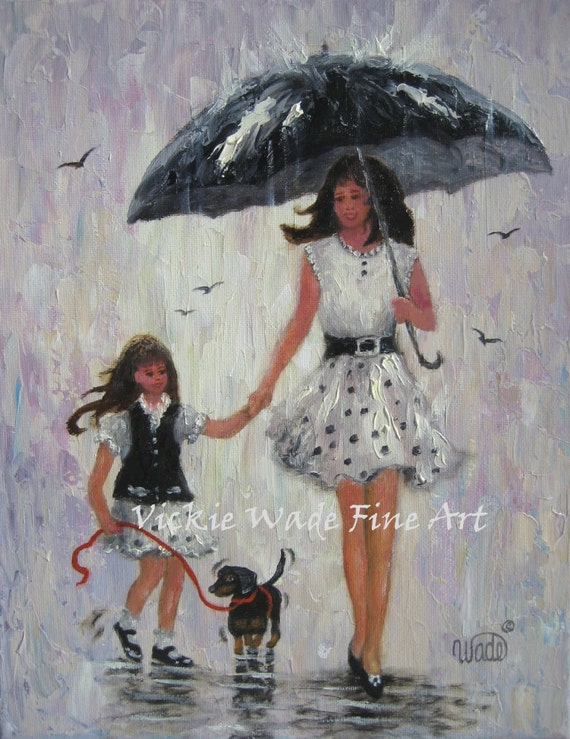 MOTHER /& DAUGHTER IN DRESSES FINE ART PAINTING REAL CANVAS GICLEE 8X10PRINT