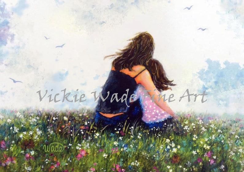 Mother Daughter Art Print mom daughter hugging wall art mum image 0