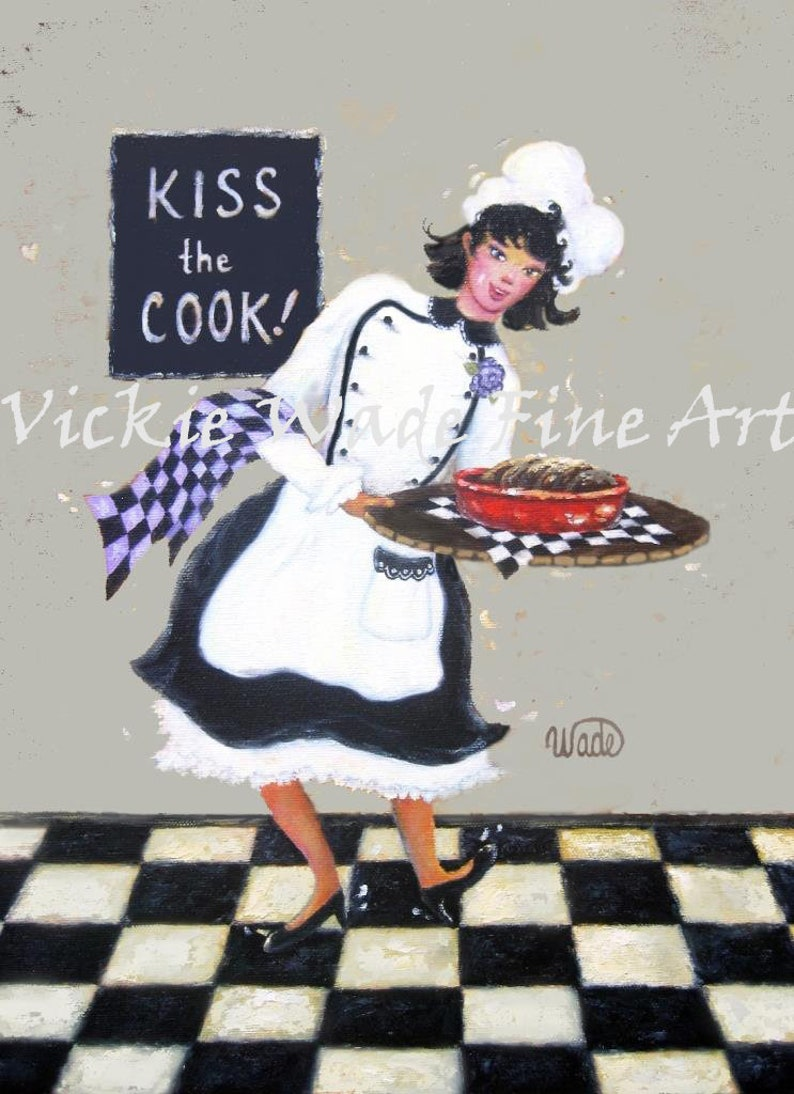 Lady Chef Art Print girl chef gray fat chef paintings woman image 0