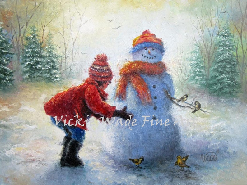 Snowman and Girl Art Print building snowman little girl red image 0