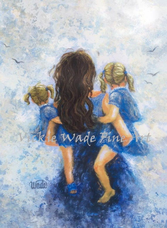 Mother Two Daughters Art Print Mother Paintings Mom Two Etsy