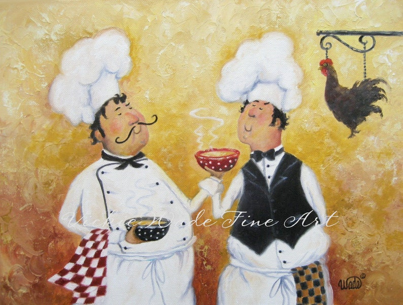 Fat Chefs Art Print chef paintings art kitchen art wall image 0