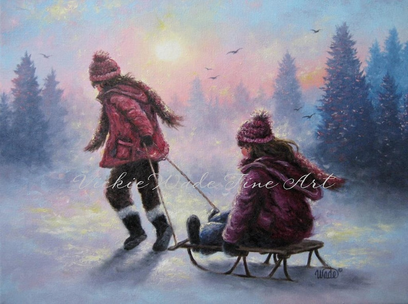 Two Sisters Sledding ORIGINAL Oil Painting 18X24 two girls image 0