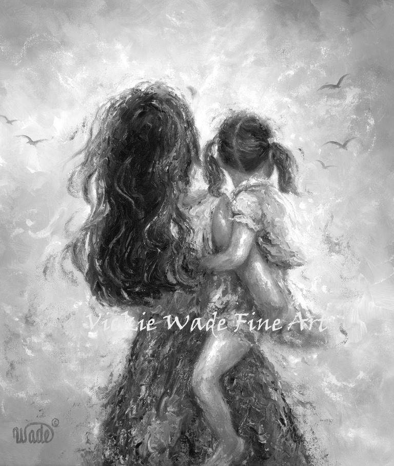 zoom Mother Daughter Art Print black and