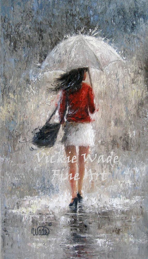 Rain Girl Art Print Pretty Woman Sexy Lady Walking In Rain -9946